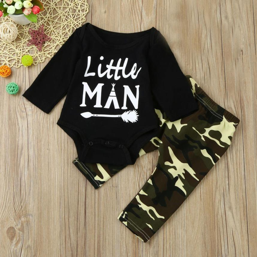 LONSANT Clothes Set Newborn Infant Baby Boys Letter Romper Tops+Camouflage Pants Outfits Clothing Set Dropshipping Wholesale baby newborn boy clothes sets birthday gift boys baby romper vest tops long pants 3pcs outfits set 0 24m boys clothes romper