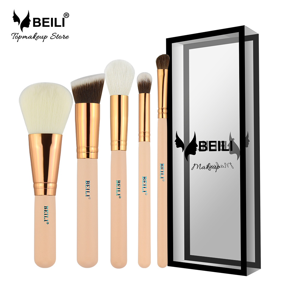 BEILI Rose Golden 5pcs Makeup Brush Set Vol.1 Powder Contour Concealer Eye Shadow Makeup Tool Pink handle