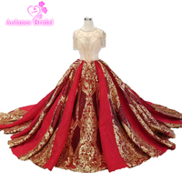 2019 Designer Prom Dresses New Collection Burgundy Luxurious Tassels Red Gold Lace Appliques Amazing Formal Evening Prom Dress