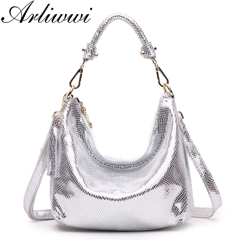 Arliwwi Brand Elegant High Quality Metalic Real Leather Handbags Shiny Luxury Serpentine Pattern Shoulder Bags Women