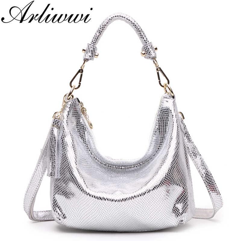 875a3ff1294b Arliwwi бренд элегантный высокое качество металлическое Настоящее кожаные  сумочки блестящие Роскошные Змеиный узор сумки на плечо