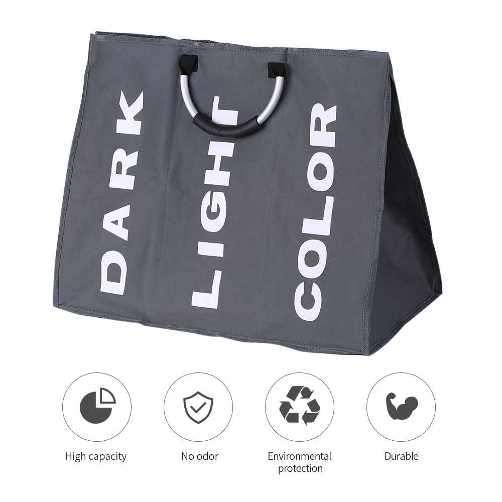 גדול מתקפל אוקספורד כביסה שחור סל תיק בגדים מלוכלכים אחסון תיק ארגונית עם אלומיניום ידיות