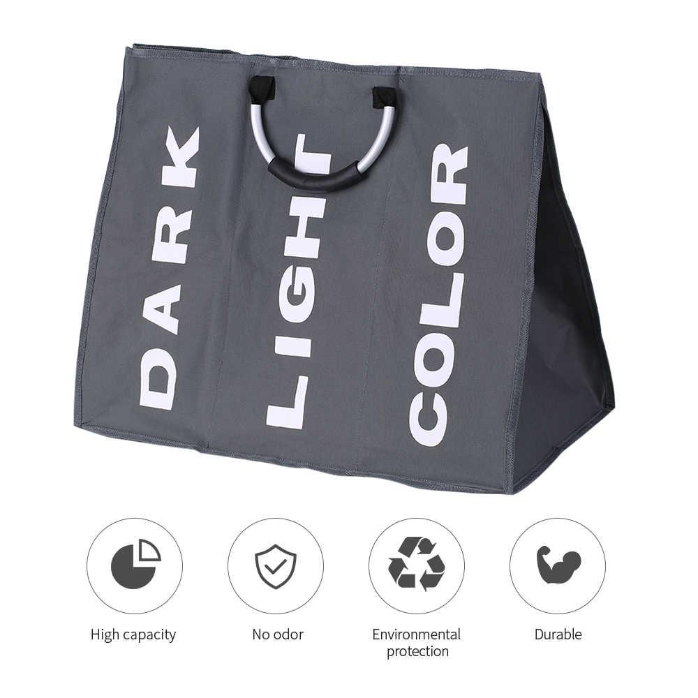 3-х секционный большой складной Оксфорд прачечная черный мешок корзина для грязного белья сумка для хранения Организатор с Алюминий ручки
