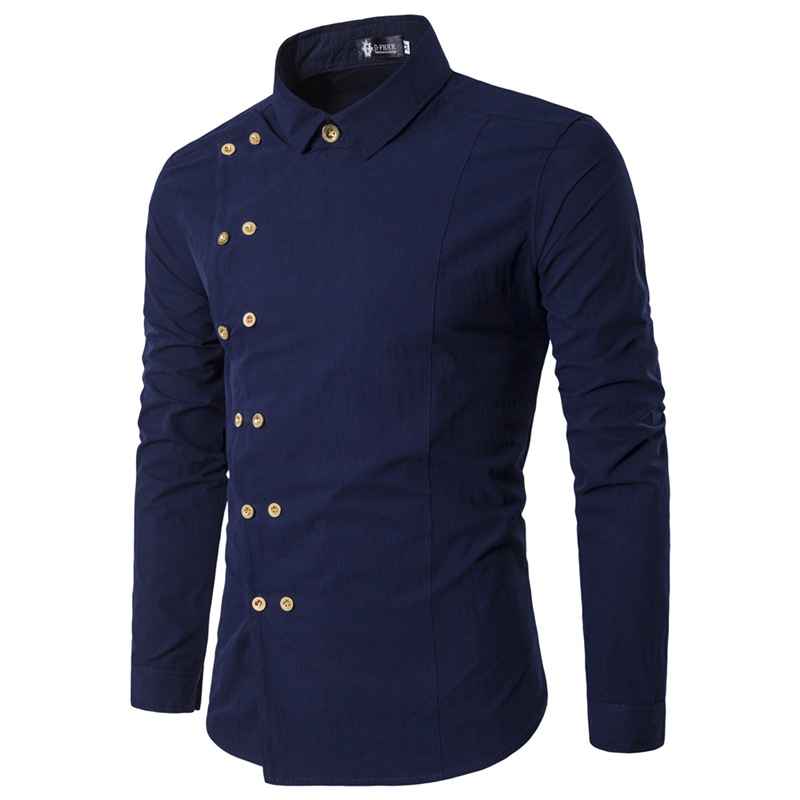 2019 New Men's Brand Shirt Fashion Casual Double Breasted Long Sleeve Shirt European Style Men's Dress Shirt Camisa Masculina