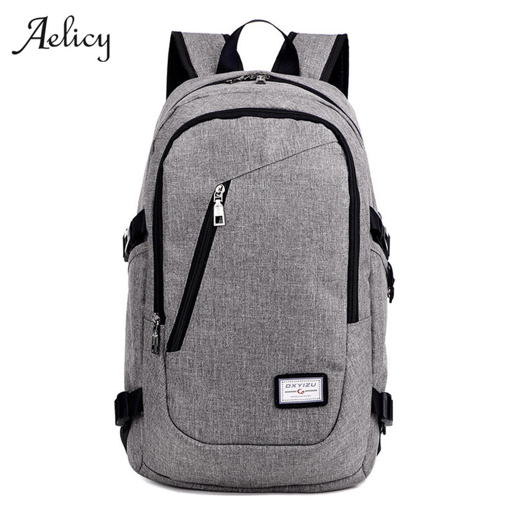 Aelicy Anti Theft Business Laptop Backpack with USB Charging Port Unisex Leisure Travel Backpack School Bags mochila feminina men s backpack anti theft usb charging travel backpack waterproof nylon unisex school bags for female laptop business backpack