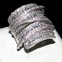 choucong jewelry Luxury Pave set full Square T 5a Zircon stone ring Women 925 Sterling silver cz Cocktail Band Rings size 5 10