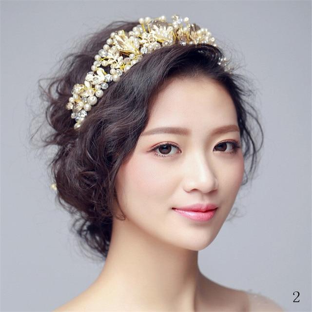 2016 New Arrival Wedding Accessories Flower Rhinestone Crystals Pearls Headband Chain Ribbon Women Headpiece Bridal Accessories