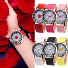 Women and men's watch casual Leather Band Analog Buckle Quartz Watch