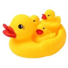 4PCS Rubber Duck Baby Bath font b Toys b font Developmental Water Floating Squeaky Yellow Ducks