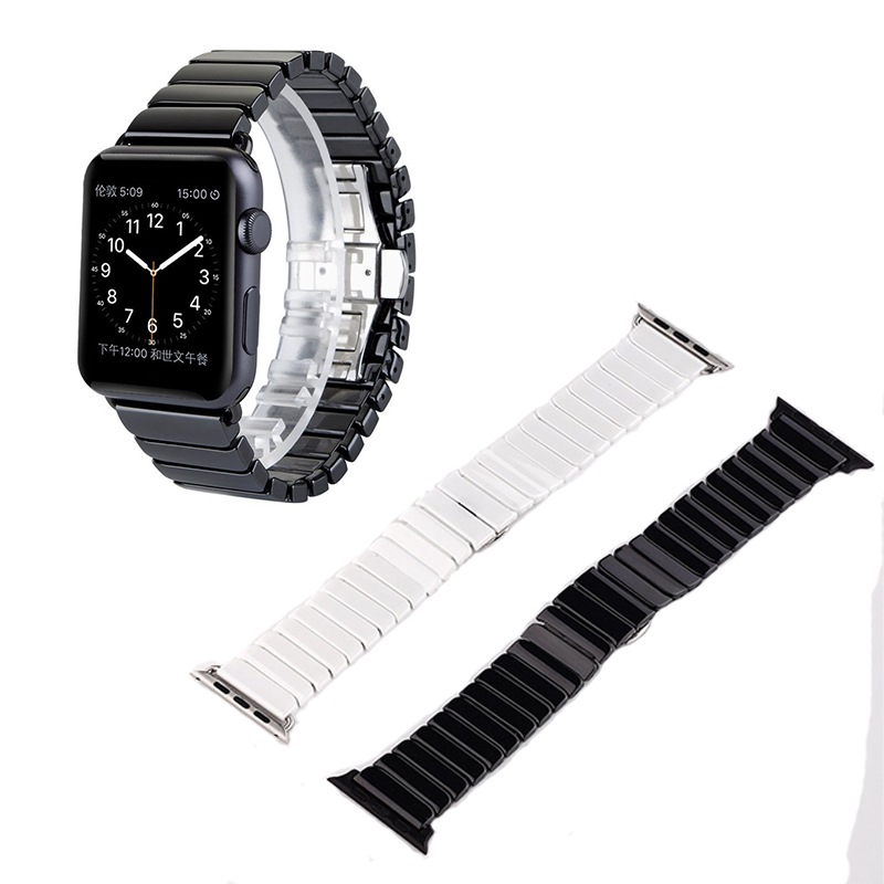 GOOSUU High Quality Luxury stainless steel Butterfly Lock Ceramic Bracelet Strap For Apple Watch iWatch Watch Band 42mm 38mm wholesale price high quality fashion high quality stainless steel watch band straps bracelet watchband for fitbit charge 2 watch