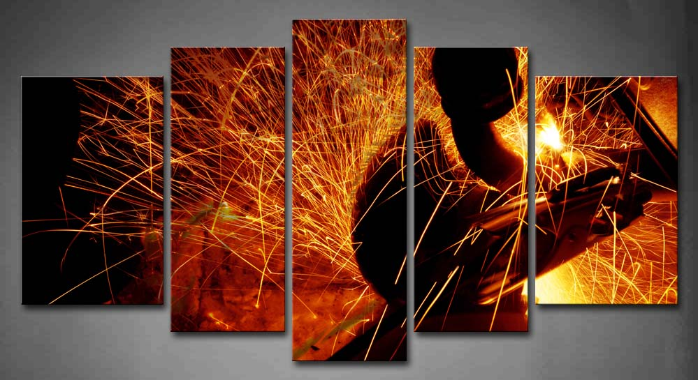 5 Panels Unframed Wall Art Pictures Sparks Car Bottom Canvas Print Artwork Modern Abstract Posters For Living Room