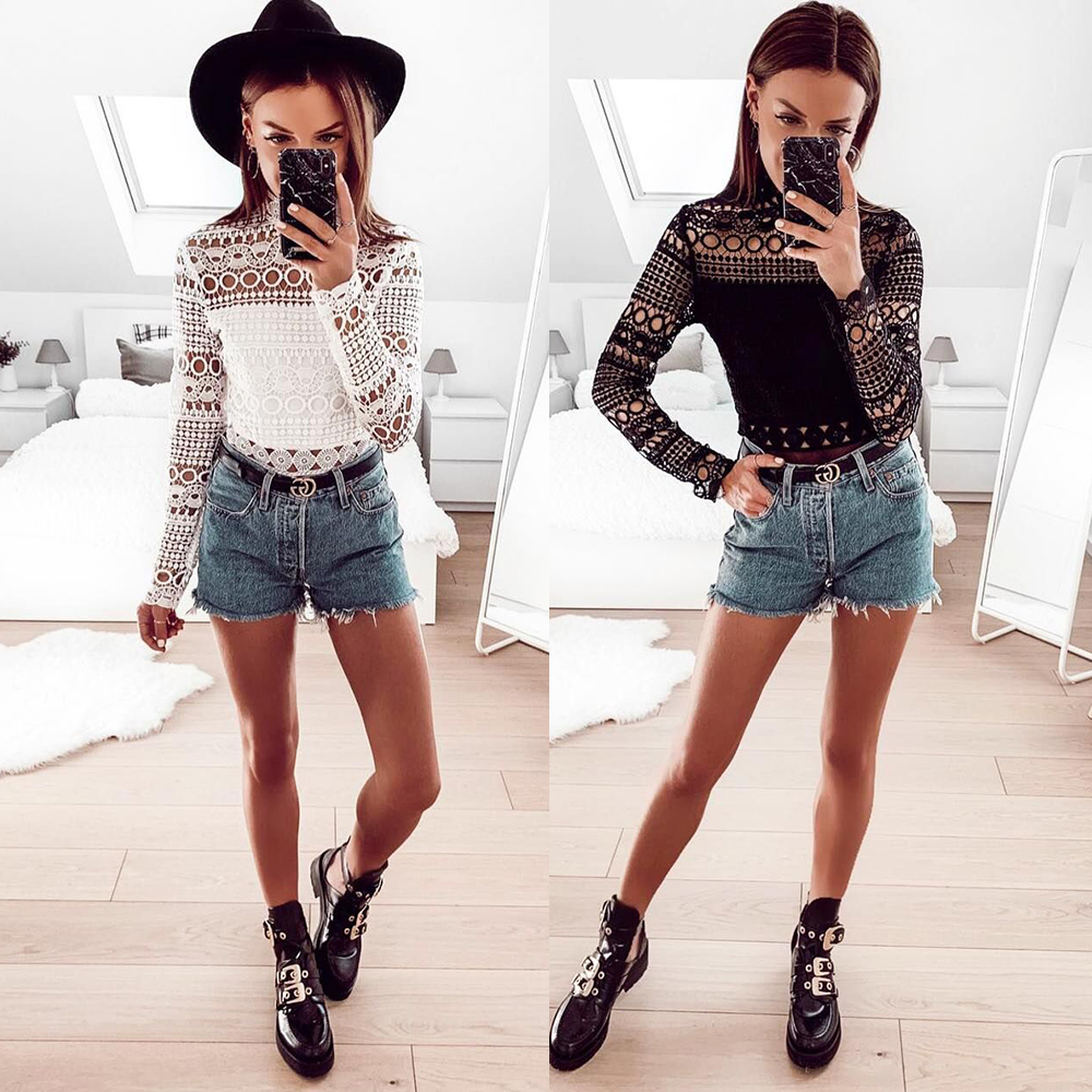 New Vintage Hollow Out Lace Blouse Women Elegant Long Sleeve White&black Tops Summer Chic Party Sexy Shirts