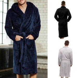 Image 2 - Vêtements de nuit pour hommes longues Robes col châle corail polaire peignoir Spa pyjamas doux