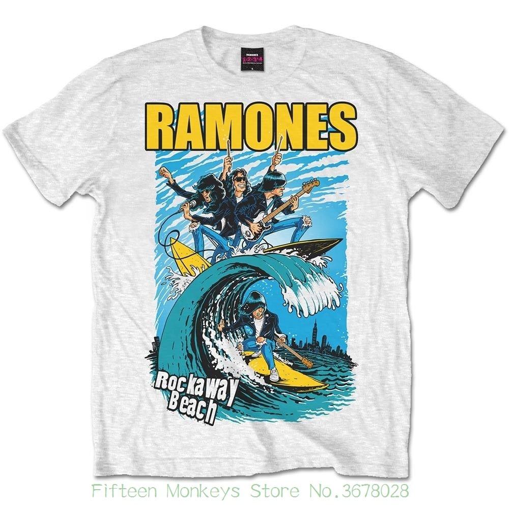 a1910870a49 Cool Short Sleeve Men T Shirt Medium White Ramones Rockaway Beach Men s T- shirt. - Tshirt New Official Xxl
