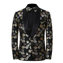 Embroidered Floral Suit Men Wedding Party Dress For Groom Slim Fit Suit Plus Size Fashion Elegant Luxury Mens Tuxedos S-4XL