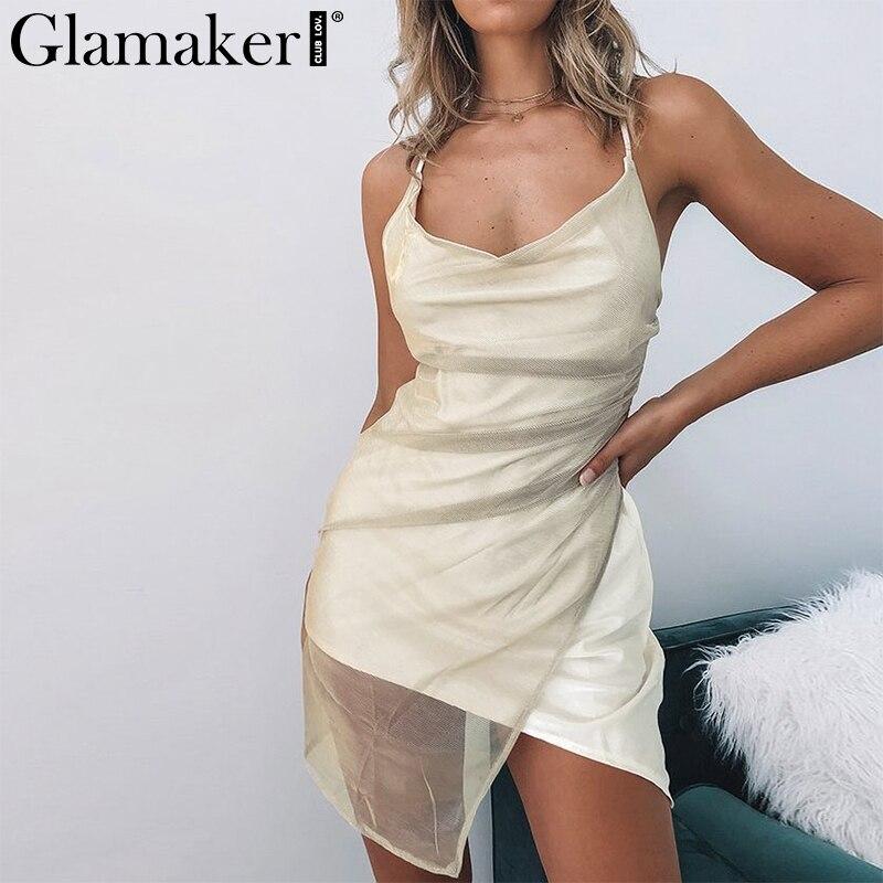 Glamaker Mesh Bodycon White Sexy Dress Women Lace Up Splice Sleeveless Mini Dress Summer Spring Party Club Elegant Short Dress