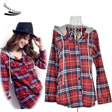 2017 New Korean Women's Ladies Long Sleeve Casual Flax Plaid Hooded Shirt Blouse outwear