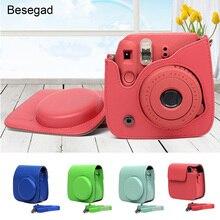 Besegad PU deri dijital kamera çantası telefon koruyucu koruyucu Polaroid Fujifilm Instax Mini 9 Mini9 anında baskı araçlar