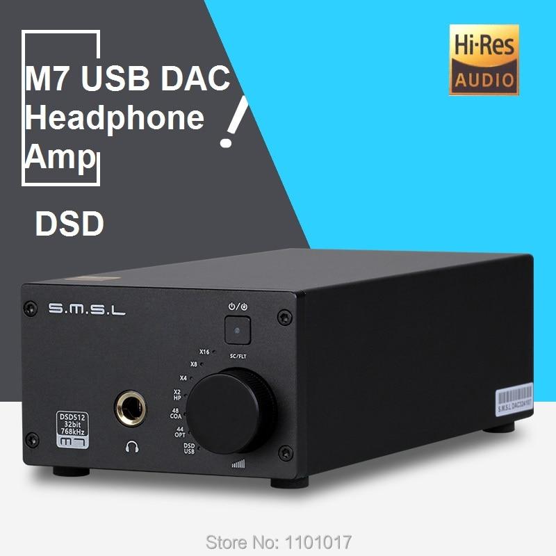 SMSL M7 DAC AK4452 DSD512 Headphone Amplifier HIFI EXQUIS S.M.S.L. Amp USB XMOS 32Bit 768kHz smsl m6 hifi audio decoder headphone amplifier dac amp 32bit 768khz support dsd512 dac ak4452
