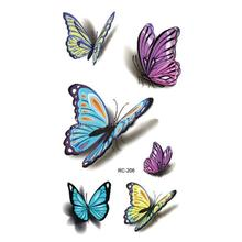 BellyLady 1 Sheet 3D Colorful Butterfly Body Art Temporary Tattoos Waterproof Non-toxic Transfer Sticker