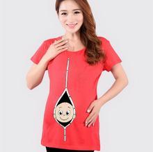 Coton Mignon De Maternité Tops T-shirt Vêtements Drôle Enceinte t chemises T-shirt Tops Femmes Vêtements de Grossesse