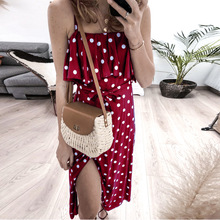 Summer Slit Dress Women Casual Sundress Off Shoulder Ruffle Boho Sexy Dress Midi Starp Split Polka Dot Print Beach Dress Red цена и фото