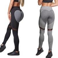 Plus Size Polyester 2018 Vrouwen Sporting Leggins Hart Patroon Hoge Elastische Fitness Legging Black Grey Workout Leggings Voor Vrouwen