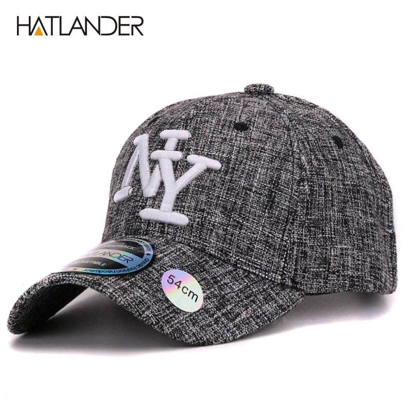 HATLANDER 2017 enfants coton lin baseball casquettes pour garçons filles en plein air soleil chapeaux NY lettre réglable casual enfants bouchon sport
