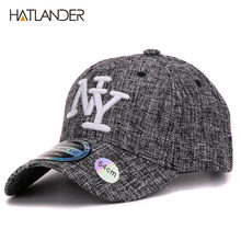 9cea59213d3a2 HATLANDER 2017 kids cotton linen baseball caps for boys girls outdoor sun  hats NY letter adjustable casual children sports cap