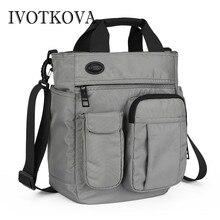 IVOTKOVA  Men Shoulder Bags Nylon Waterproof Handbags New Design Business Multi-function Male Messenger Purses Casual Mens