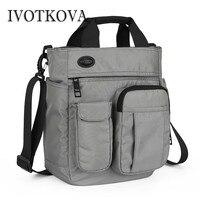 IVOTKOVA Men Shoulder Bags Nylon Waterproof Handbags New Design Business Multi function Male Messenger Purses Casual Men's Bags