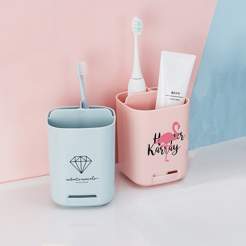BalleenShiny Creative Printing Toothbrush Holder Bathroom Storage Rack Washing Supplies Multi-function Storage Box