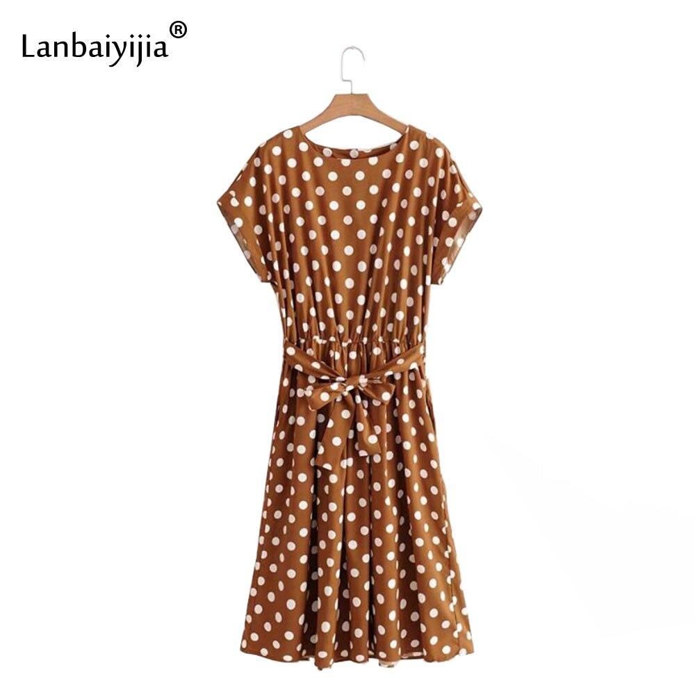 Lanbaiyijia Europe amérique o-cou vague point robe noeud papillon ceintures manches courtes taille haute femmes robe décontracté chic robes longues