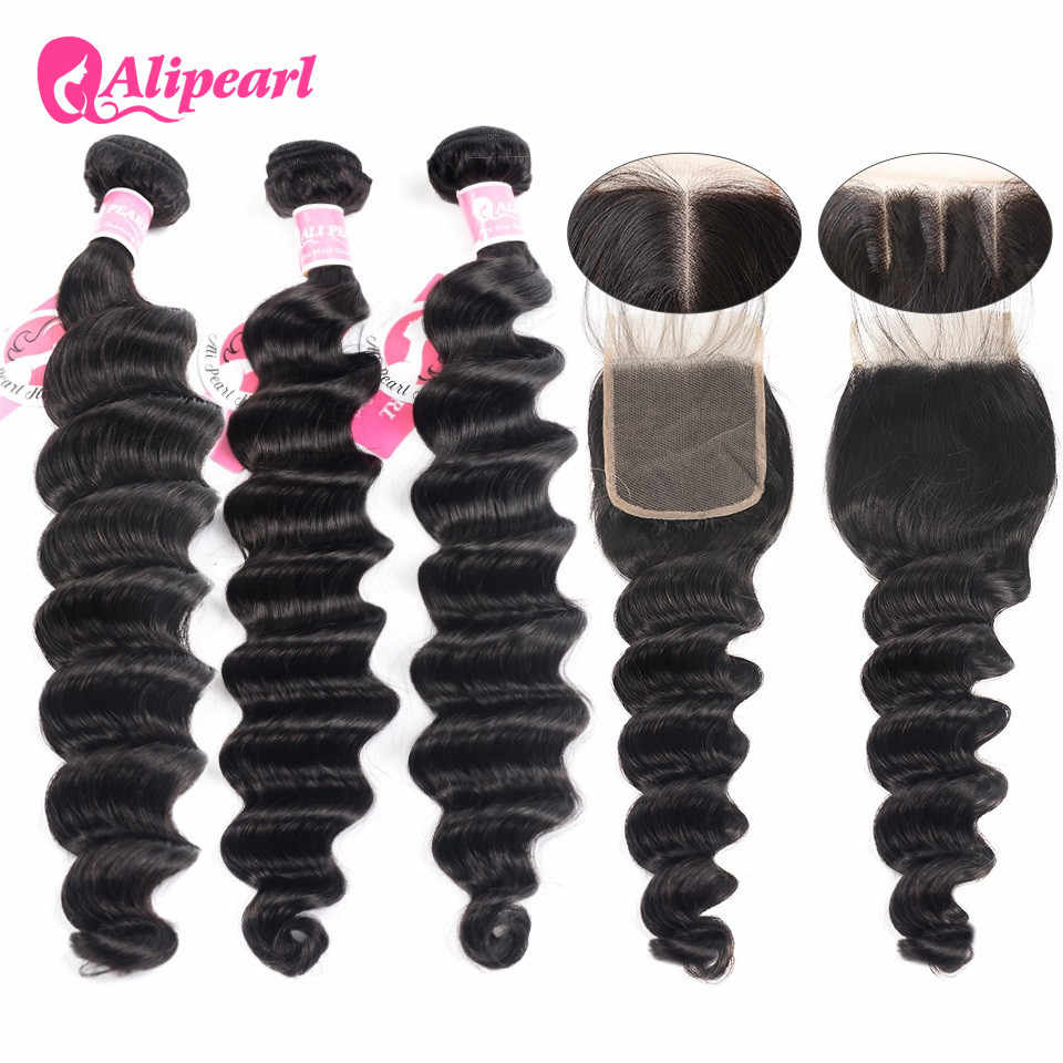 AliPearl Loose Deep Wave Bundles With Closure Brazilian Human Hair Weave 3 Bundles With 4x4 Closure Remy Hair Extension ALIPEARL