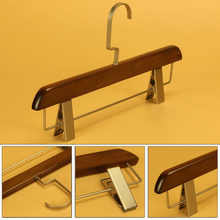 Luxury Anti Skidding Natural Wooden Hanger With Clips For Pants Skirt Adult Clothes Clamp Stand 50pcs