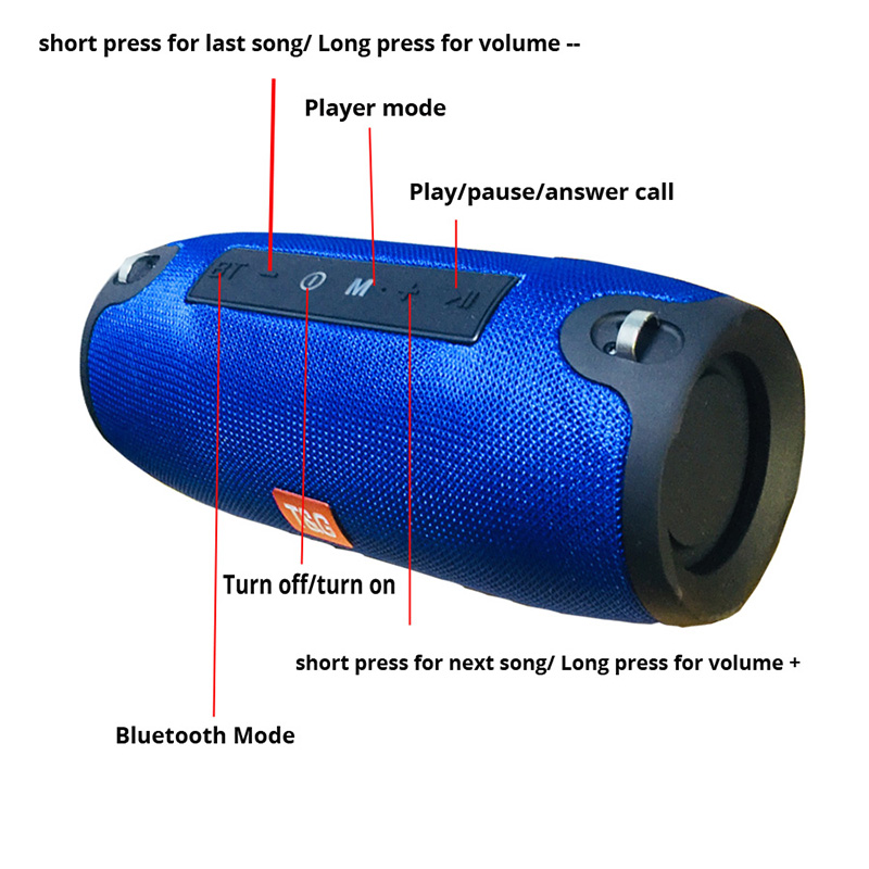 Bluetooth Speaker Column Wireless Portable Sound Box 10W Stereo Bass Subwoofer Fm Radio Boombox Aux Usb Pc Sound Bar for Xiaomi in Portable Speakers from Consumer Electronics