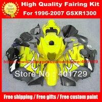 Motorcycle Parts for Suzuki 1996 2007 GSXR1300 GSX R1300 yellow/black custom race fairing kit with free heatshield