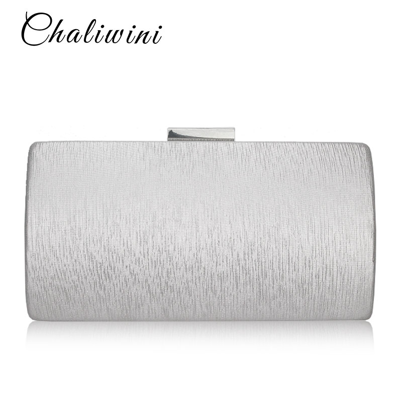 2020 New Fashion Luxury Elegant Hard Clutch Silk Satin Dark Silver Evening Bags Tote Bags Womens Wedding Purse Evening Party Bag