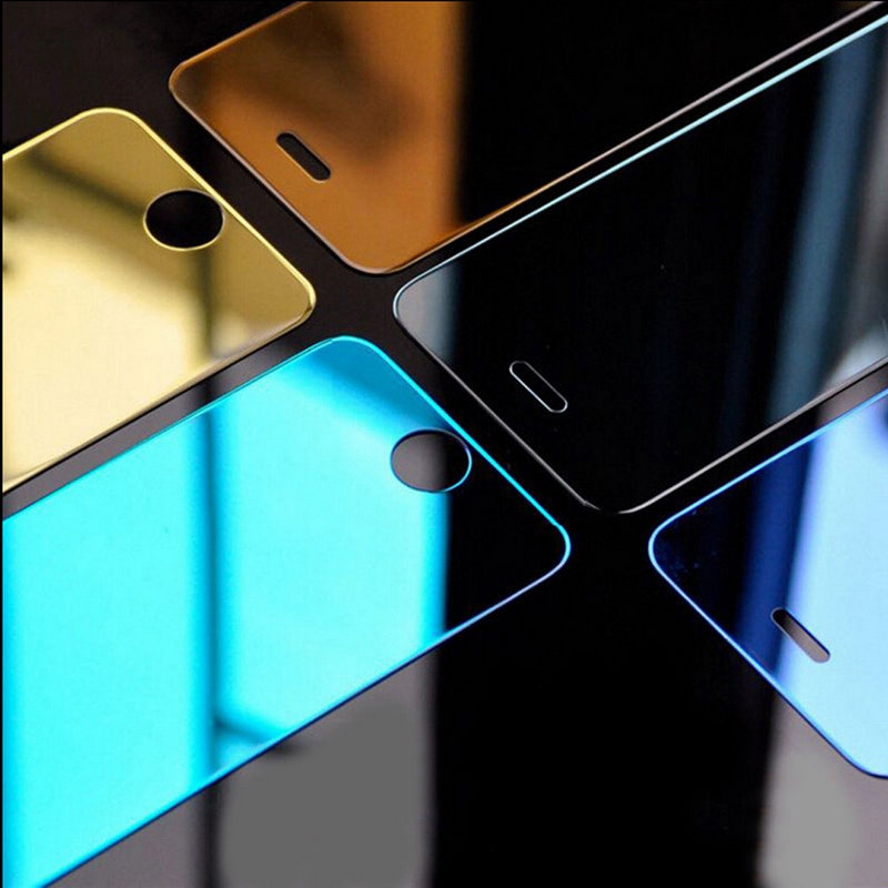 colores de moda espejo protector de pantalla de cristal templado para iphone s plus