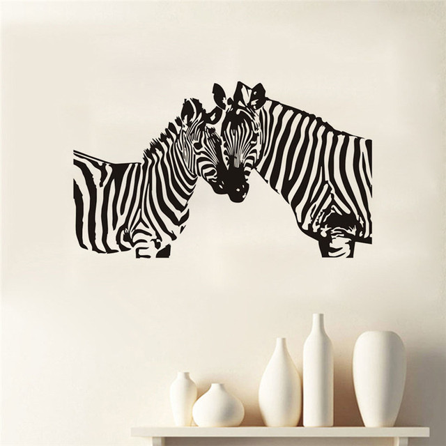 two zebras silhouette wall stickers wild animals personality home