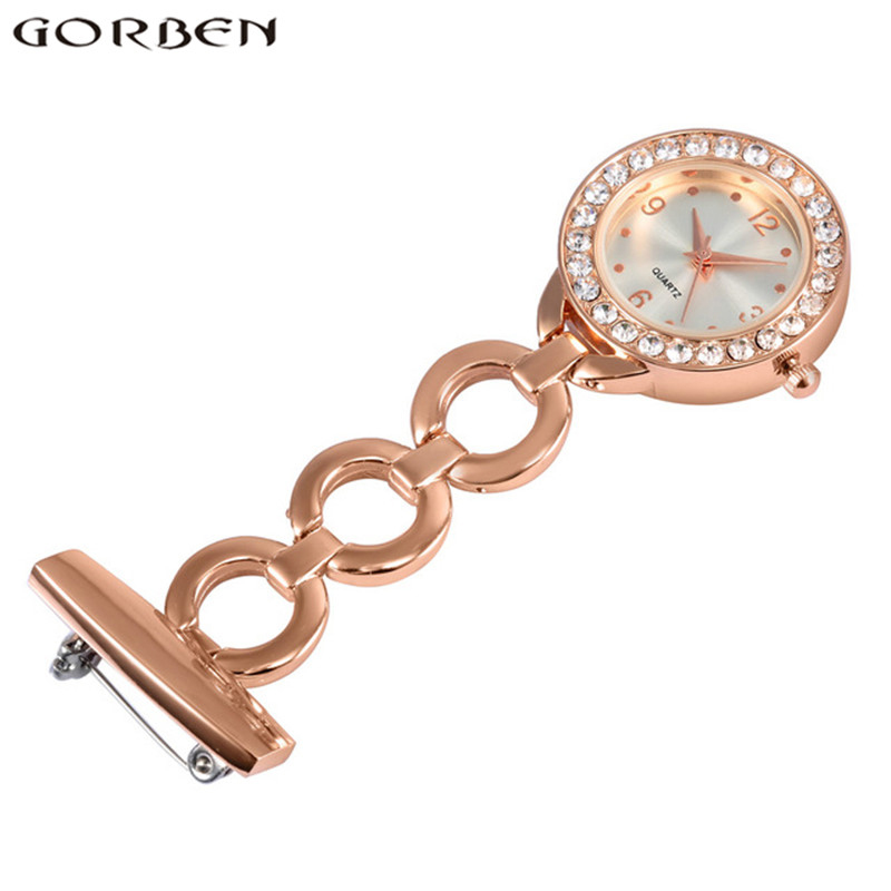 Fashion Crystal Medical Nurse Fob Watch Women Luxury Brooch Hanging On Pocket Nursing Watch For Paramedic Doctor Gift Zakhorlog