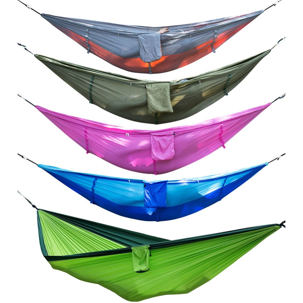 New Outdoor Hanging Hammock Portable High Strength Fabric Hammock Hanging Bed With Mosquito Net Sleeping Bed 260x130cm Factories And Mines Hammocks