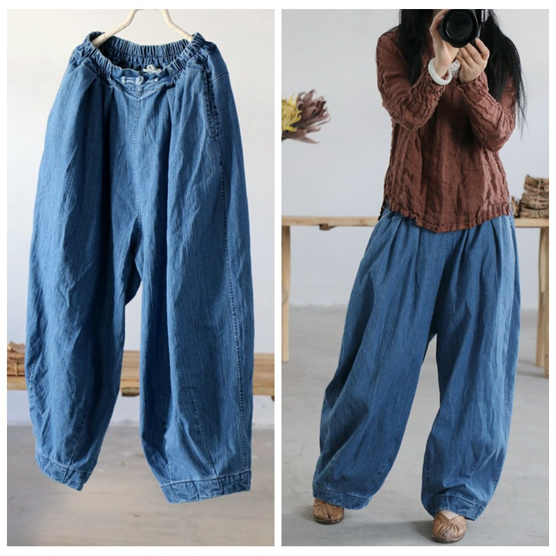 YoYiKamomo Denim Women Pants 2018 New Spring Summer Original Elastic Waist Original Jeans Harem Trousers Fashion Pants-in Jeans from Women's Clothing    1