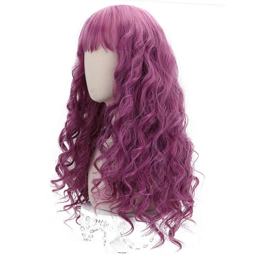 """Бесплатная Красота 24 """"розовый длинный парик с челкой синтетический волнистый костюм волос для девочек Лолита парик для вечерние Косплэй высокое Температура волокно"""