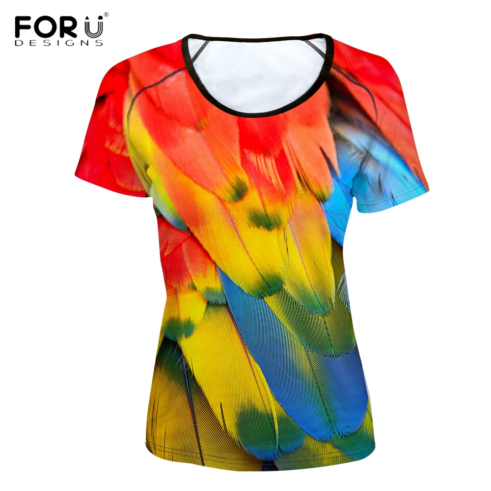 FORUDESIGNS Stylish Women O Neck T Shirts Funny 3D Animal Colorful Feather Print Girls Basic T-shirts Short Sleeve Top Tee Cloth