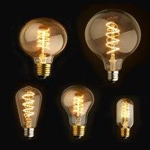Dimmable E27/B22 T45 A60 ST64 G95 G125,Spiral LED Filament Light Bulb Retro Vintage Lamps Decorative Lighting