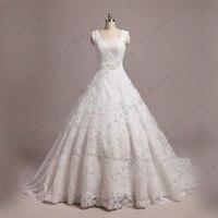 SS72 White Short Sleeve Ball Gown Beaded Belt Real Sample Vintage Wedding Dress Vestidos De Noiva