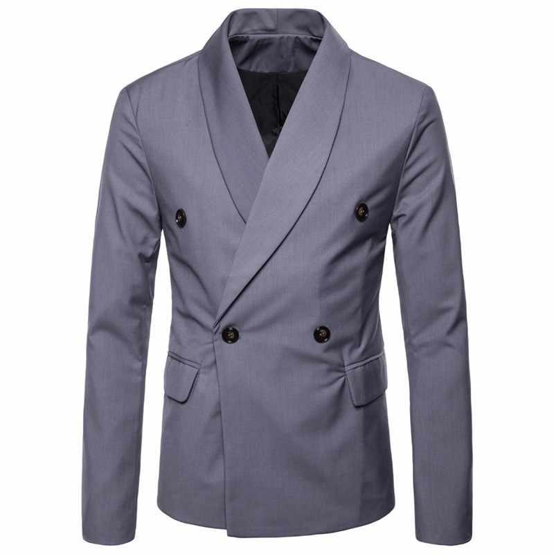 2019 春の秋のファッションカスタムメイドの男性のダブルブレストスリムフィットブレザー男性のジャケット Terno Masculino のコートのみ