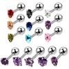 9Pairs/lot 16G Steel Tragus Helix Cartilage Earrings Mixed Colors Crystal Ear Earring Pircings Stud Labret Body Jewelry Piercing
