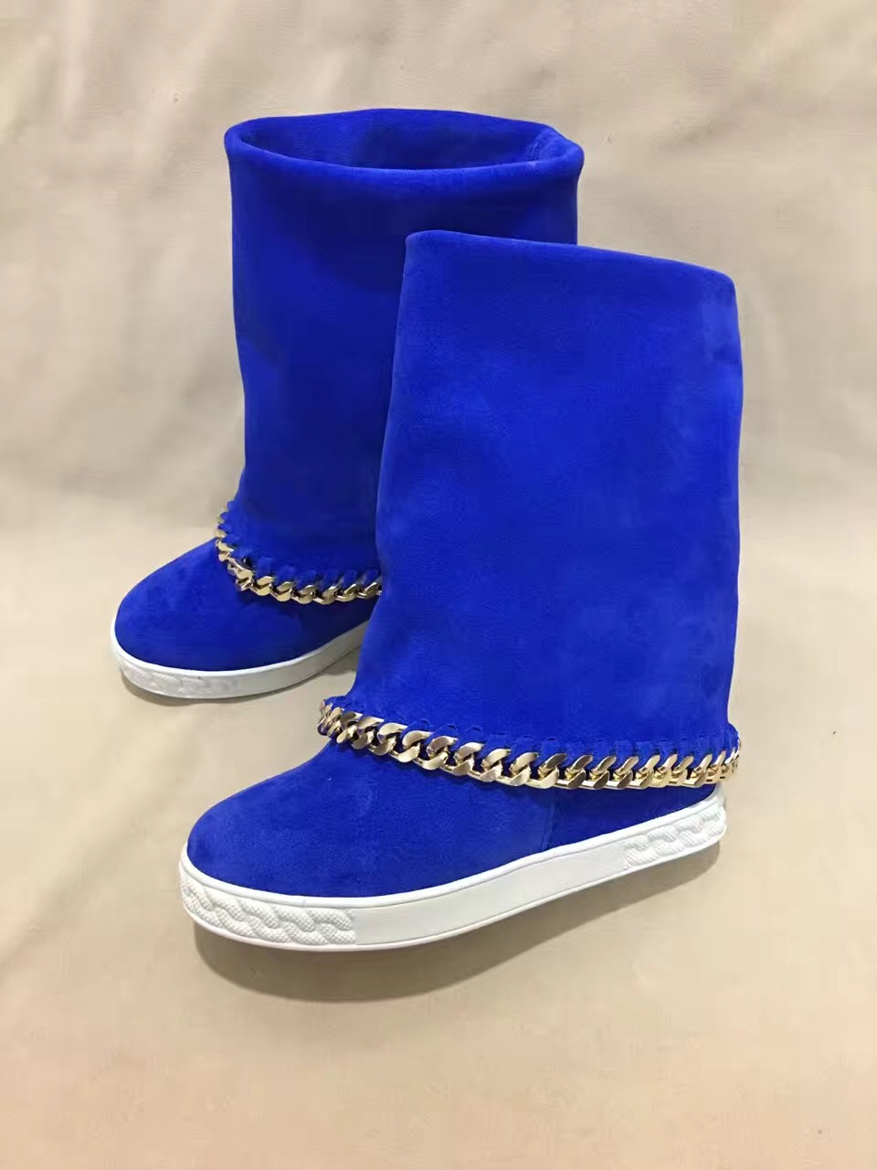 Hot Blue Suede Leather Women Chain Rim Mid-Calf Boots Round Toe Ladies Inside Wedge Heel Boots Slip On High Heel Boot Size 41 high heel slip on rivet wedge peep toe mid calf boots extreme height increasing fashion summer stud muffin women shoes black